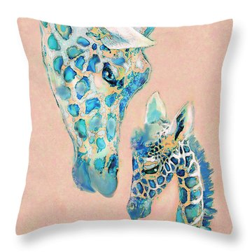 Throw Pillow featuring the digital art Loving Giraffes Family- Coral by Jane Schnetlage