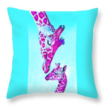 Throw Pillow featuring the digital art Loving Giraffes- Magenta by Jane Schnetlage