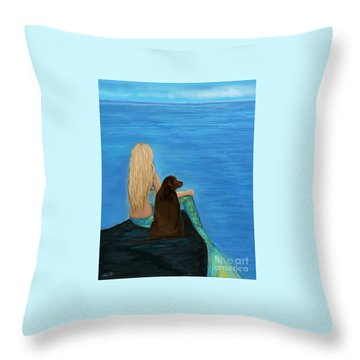 Throw Pillow featuring the painting Loving Lab Loyalty by Leslie Allen