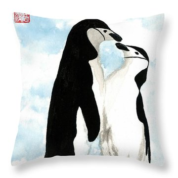 Loving Penguins Throw Pillow