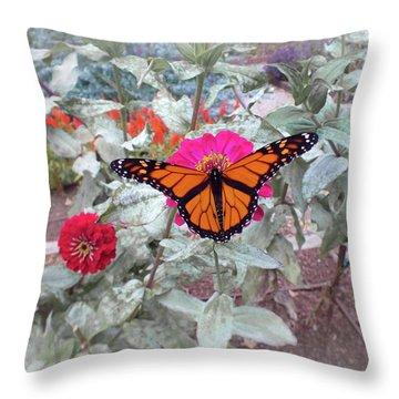 Loving The Zinnias Throw Pillow