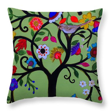 Throw Pillow featuring the painting Loving Tree Of Life by Pristine Cartera Turkus
