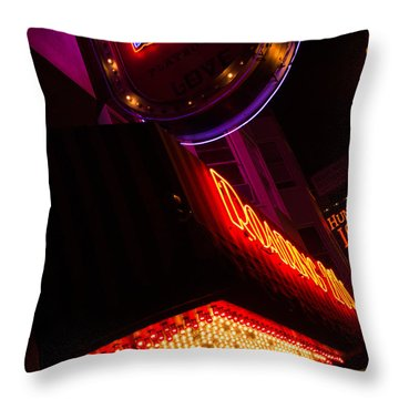 Throw Pillow featuring the photograph Low Angle Neon Signs At Night In North Beach San Francisco by Jason Rosette