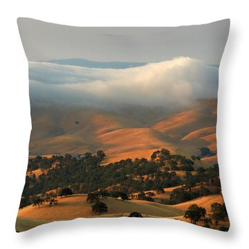Low Clouds Over Distant Hills Throw Pillow