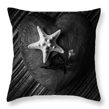 Low Key Heart And Starfish Throw Pillow