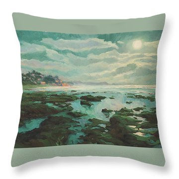 Low Tide At Moonlight Throw Pillow
