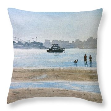 Low Tide At Rose Bay Throw Pillow