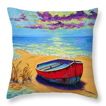 Throw Pillow featuring the painting Low Tide - Impressionistic Art, Landscpae Painting by Patricia Awapara