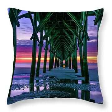 Throw Pillow featuring the photograph Low Tide Pier by DJA Images