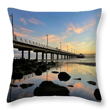 Low Tide Reflections At The Pier  Throw Pillow
