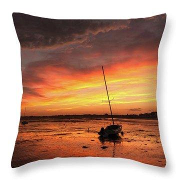 Low Tide Sunset Sailboats Throw Pillow