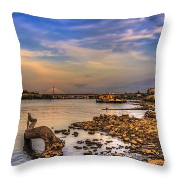 Low Water Vistula Riverscape In Warsaw Throw Pillow