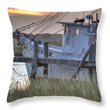 Lowcountry Shrimp Boat Sunset Throw Pillow by Dustin K Ryan