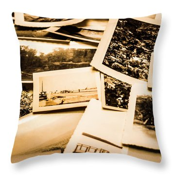 Lowdown On A Vintage Photo Collections Throw Pillow