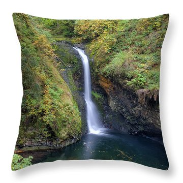 Lower Butte Creek Falls Plunging Into A Pool Throw Pillow by David Gn