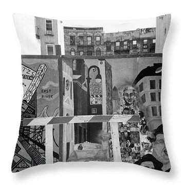 Lower East Side Mural Throw Pillow