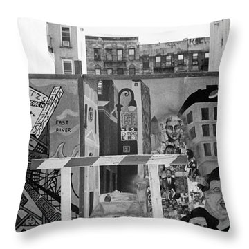Lower East Side Mural Throw Pillow by Dave Beckerman