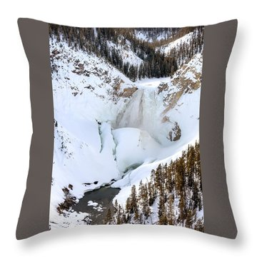 Lower Falls In The Grand Canyon Of The Yellowstone River Throw Pillow