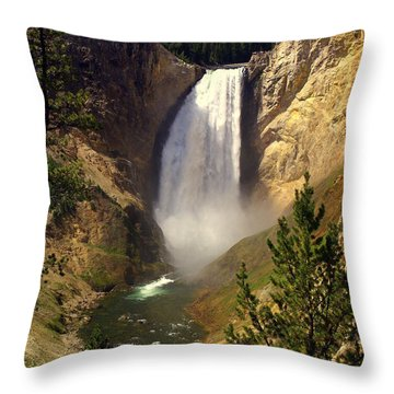 Lower Falls Throw Pillow by Marty Koch