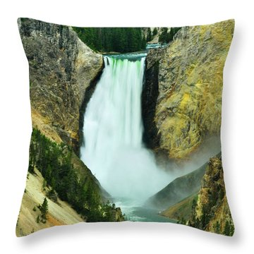 Throw Pillow featuring the photograph Lower Falls No Border Or Caption by Greg Norrell