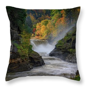 Lower Falls Of The Genesee River Throw Pillow by Rick Berk
