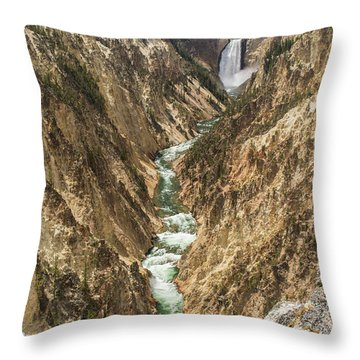 Lower Falls Of The Yellowstone - Portrait Throw Pillow