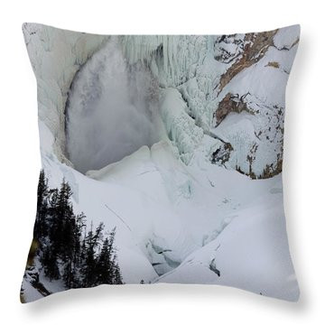Lower Falls Of Yellowstone II Throw Pillow by Mary Haber