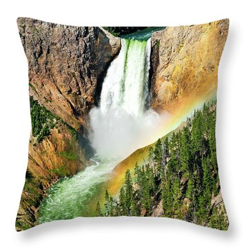 Lower Falls Rainbow Throw Pillow by Greg Norrell
