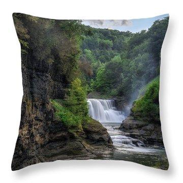 Lower Falls - Summer Throw Pillow