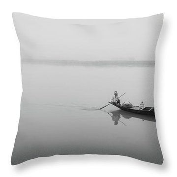 Throw Pillow featuring the photograph Lower Ganges - Misty Morinings by Chris Cousins
