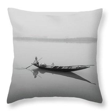 Lower Ganges - Misty Morinings Throw Pillow