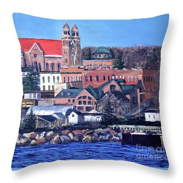 Lower Harbor-marquette Michigan Throw Pillow