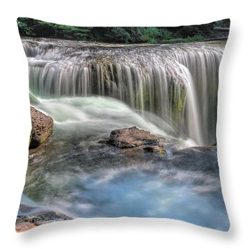 Lower Lewis River Falls Rush Throw Pillow by David Gn