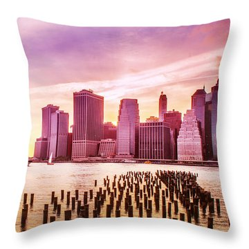 Lower Manhattan And Ferry Throw Pillow by Rima Biswas