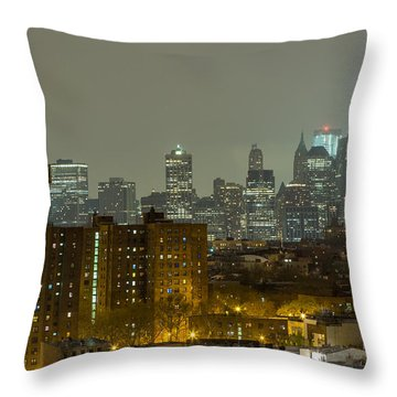 Lower Manhattan Cityscape Seen From Brooklyn Throw Pillow