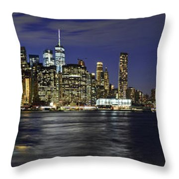 Lower Manhattan From Brooklyn Heights At Dusk - New York City Throw Pillow