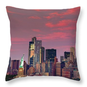 Throw Pillow featuring the photograph Lower Manhattan In Pink by Emmanuel Panagiotakis