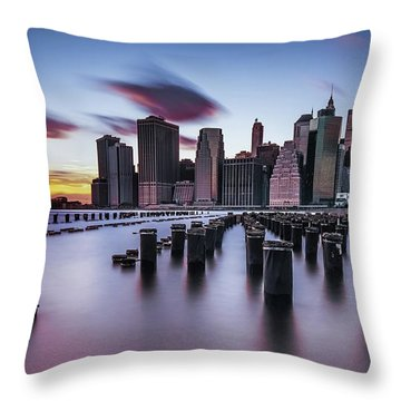 Lower Manhattan Purple Sunset Throw Pillow