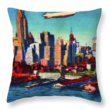 Lower Manhattan Skyline New York City Throw Pillow by Vincent Monozlay