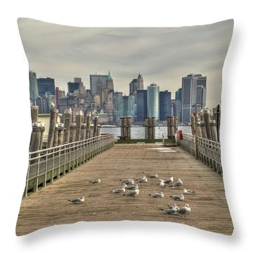 Lower Manhattan Throw Pillow by Timothy Lowry