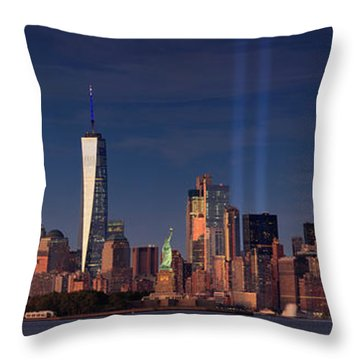 Throw Pillow featuring the photograph Lower Manhattantribute In Light by Emmanuel Panagiotakis