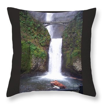 Throw Pillow featuring the photograph Lower Multnomah Falls by Charles Robinson