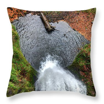 Lower Multnomah Falls From Benson Bridge - Columbia Gorge Throw Pillow by Gary Whitton
