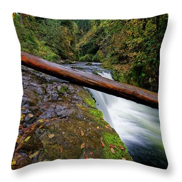 Throw Pillow featuring the photograph Lower Punch Bowl Falls by Jonathan Davison