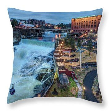 Lower Spokane Falls Early Spring Throw Pillow