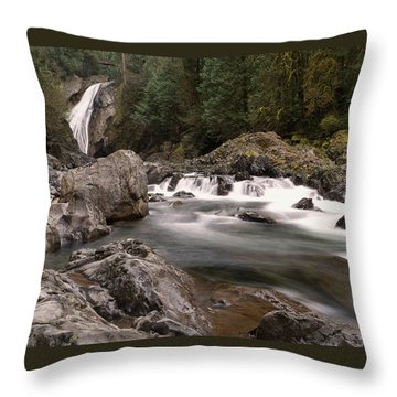 Throw Pillow featuring the photograph Lower Twin Falls by Jeff Swan
