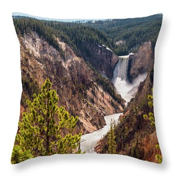 Lower Yellowstone Canyon Falls 5 - Yellowstone National Park Wyoming Throw Pillow