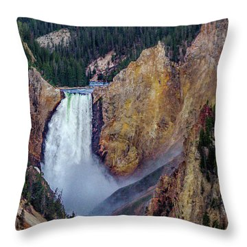 Throw Pillow featuring the photograph Lower Yellowstone Falls II by Bill Gallagher