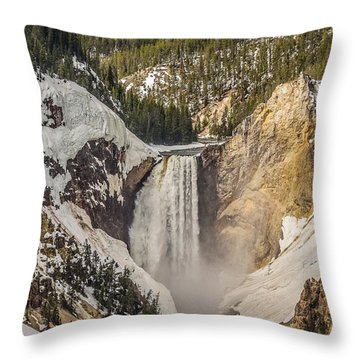 Lower Yellowstone Falls In Winter Throw Pillow by Yeates Photography