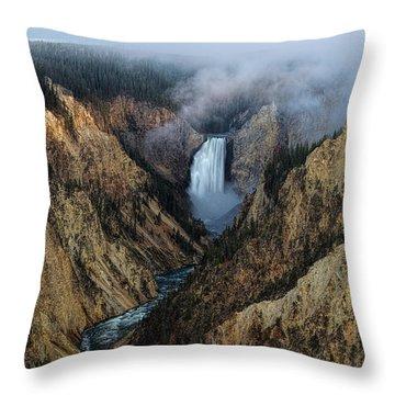 Lower Yellowstone Falls Sunrise Throw Pillow